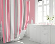 Etsy :: Your place to buy and sell all things handmade Retro Shower Curtain, Pink Shower Curtains, Modern Shower Curtains, Modern Retro, Midcentury Modern, Pink Showers, White Shower, Pad Design, Make You Smile