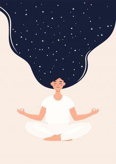 Illustration Of Woman Is Meditating In Lotus Position With Stars Yoga Illustration, Digital Illustration, Creative Illustration, Graphic Design Illustration, Position Du Lotus, Yoga Kunst, Posca Art, Wow Art, Art Inspo