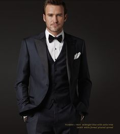 Midnight Blue Tuxedo, choose satin or groesgrain trim, vest or cumber bun & more.....