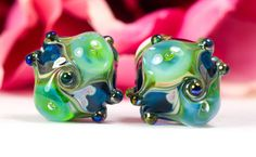 Victoriana Pair  Lampwork Glass Bead Pair by by BeadsbyClareScott