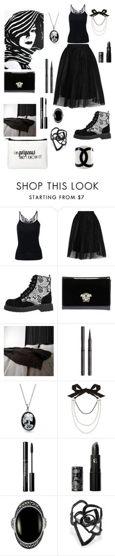 """Black&White"" by giulia-ostara-re ❤ liked on Polyvore featuring Topshop, T.U.K., Versace, Burberry, Bling Jewelry, Lanvin, Lipstick Queen and Le Vieux"