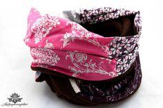 Schlauchschal braun und Pink von Lieblingsmanufaktur: Bunte Loop Schals, Tücher und mehr auf DaWanda.com