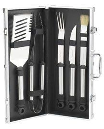 Stainless Steel BBQ Set - 5pc #SBS by Picnic at Ascot. $79.99. Fire up your next promotion with our 5pc Stainless Steel BBQ set. Featuring brushed stainless steel tools securely housed in an aluminum carrying case.
