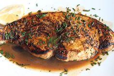 Seared Swordfish with a Lemon and Wine Rosemary Sauce