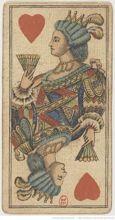 Antique French Queen of Hearts playing card