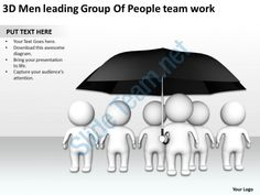 3d men leading group of people team work ppt graphic icon Slide01