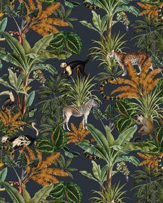Mighty Jungle Wallpaper on roll - Creative Lab Amsterdam Jungle Bedroom, Safari Nursery, Jungle Print, Jungle Theme, Wallpaper Roll, Pattern Wallpaper, Wallpaper Jungle, Funky Wallpaper, Screen Wallpaper