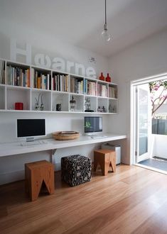 white office space.  Up against the wall desk ideas.