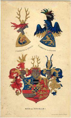 Gelithografeerde afbeelding van het Wapen van Prins Willem I en de stamwapens van Oranje en Nassau. Datering 1860 - 1870