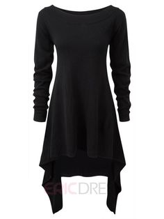 Ericdress Plain Asymmetric Round Neck Long Sleeve Casual Dress Casual Dresses