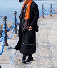 Trunch Coat Maxi Coat Long Dress Coat Outwear Winter by Concertino, $129.00