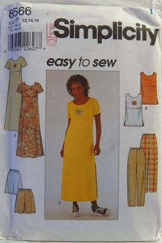Simplicity 8566 Misses' Dress or Top and Pants or Shorts