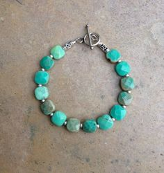 Green Moss Opal and Silver Bracelet. Faceted Aqua Bracelet with Bali Silver. Woman's beaded Bracelet. 71/2 or 8 inch by EastVillageJewelry on Etsy