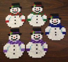 Snowman Perler bead ornament by OtakuBeads on Etsy