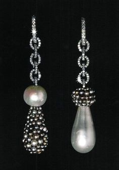 """Magnificent drop earrings by American (NYC)- born, Paris-based jewelry designer Joel Arthur Rosenthal (b.1943). From the """"JAR"""" retrospective book."""