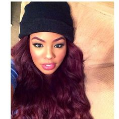 Love her hair makeup and that hat is pretty cute too ;)