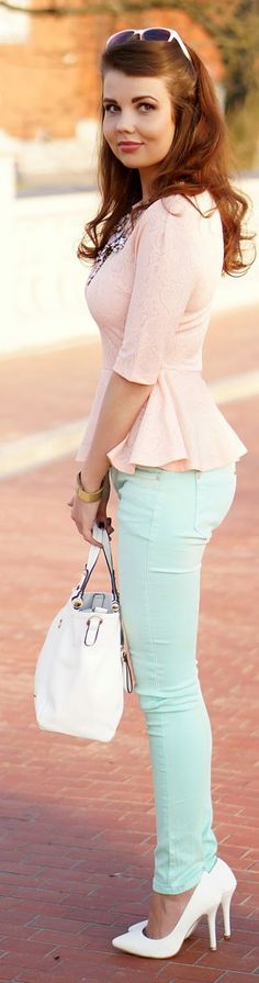 Mint Denim Skinnies, so fresh with blush peplum, I would trade the white shoes for blush or nude though☺️ just a personal preference for my skin tone