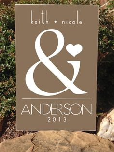 Custom Wood Sign - Personalized Ampersand Love / Names / Year - Hand Painted Typography Word Art Home Wall Decor