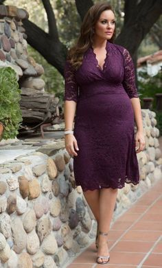 Curvalicious Clothes :: Plus Size Dresses :: Scalloped Boudoir Lace Dress - Plum
