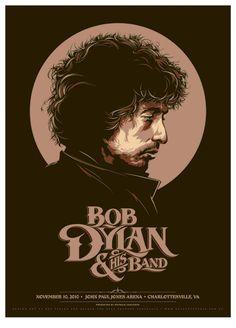 Bob Dylan concert poster at the John Paul Jones Arena - Charlottesville - Nov 10, 2010. Hand made 4 color screen print on matte fine art paper. Artist: Ken Taylor