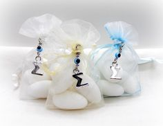 Boys Baptism Favors Organza Pouches with Jordan by VessCrafts