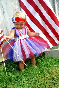 Fourth Of July Tutu Dress with headband by GlitzySewGlamorous