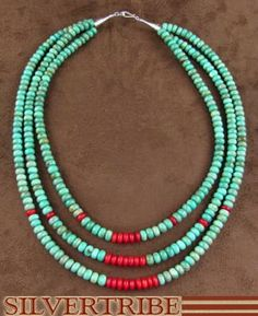Navajo Sterling Silver Kingman Turquoise Coral 3-Strand Bead Necklace AS32286