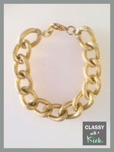Textured Faux Pave Gold Chunky Chain Bracelet