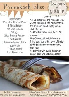 Banting Pancakes - just like the real deal Banting Desserts, Banting Recipes, Low Carb Recipes, Cooking Recipes, Ketogenic Recipes, Banting Diet, Lchf, Banting Bread, Keto Bread