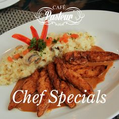 We invite you to savour our #CaféPasteur Chef's Specials: CHICKEN BALSAMICO -  Sautéed chicken breast deglazed with balsamic vinegar and sprinkled with parmesan cheese.