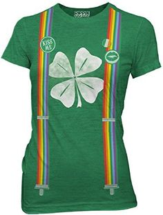 St Patricks Day Leprechaun Costume with Rainbow Suspenders Juniors Green Heather Tee St Patricks Day Leprechaun Costume with Rainbow Suspenders Juniors Green Heather Tee, Perfect for St. Patrick's Day! Wear out to the pub or anytime you're feeling Irish pride!Fitted Women's Juniors sizes. For a loose fit, order 1-2 sizes larger than you normally wouldPerfect for St. Patrick's Day! Wear out to the pub or anytime you're feeling Irish pride!Feature