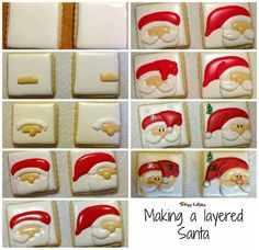 Trilogy Edibles: Making of Santa Clause square cookies. LOVE this Santa cookie! Christmas Biscuits, Christmas Sugar Cookies, Christmas Sweets, Noel Christmas, Holiday Cookies, Christmas Baking, Christmas Cakes, Santa Cookies, Iced Cookies