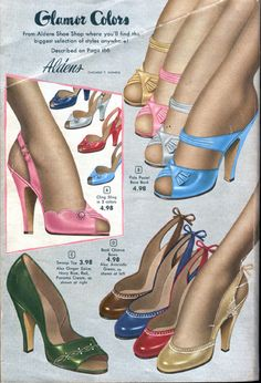 Women's shoes in the were quite delicate looking in comparison to their chunky predecessors. Stiletto heels were highly fashionable, which added to the dainty look that was in style at the time. The majority of women almost always wore heels or pumps. Fashion Moda, 1940s Fashion, Fashion Shoes, Fashion Accessories, Vintage Fashion, Fashion News, Fashion Women, High Fashion, Vintage Outfits