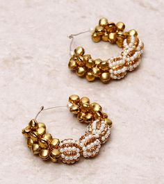 Ranjaana By Deepanjali Chatterjee - Golden & White Embellished Earrings CLICK ON THE PHOTO TO SHOP! :)