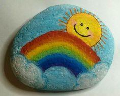 Rainbow painted rock