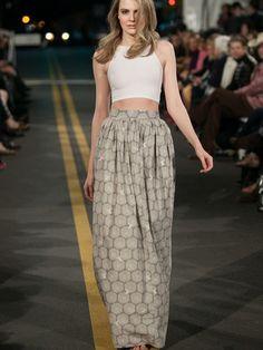 PREORDER: Kichijoji Maxi Skirt In Flight + Lace-Navy & Grey - VauteCouture