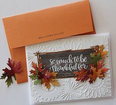 Today I'm sharing another new card with the Simon Says Stamp November Card Kit. This is one of my favorite kits of the year. While the kit has sold out, you can still purchase many of the. Fall Cards, Holiday Cards, Diy Thanksgiving Cards, Christmas Cards, Card Making Inspiration, Making Ideas, Simon Says Stamp Blog, Leaf Cards, November