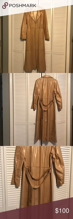 Khamsin Beautiful Leather Tan Duster Gorgeous duster! It's a beautiful camel color. Has one flaw on the arm of the jacket which I have taken a close up of. Size 1 on the tag. This definitely a small. Would fit a size 0 to 4. Khamsin Jackets & Coats