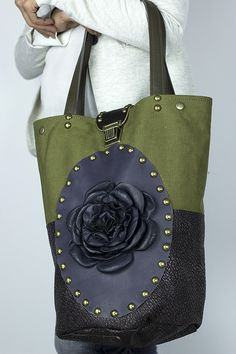 BUCKET SHOULDER BAG Green Canvas & Dark Purple by NeroliHandbags