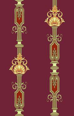 Baroque Pattern, Pattern Art, Baroque Design, Textiles, Textile Prints, Floral Print Background, Pillar Design, Boarder Designs, Paisley Art