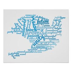 Inspirational Elegant Dove of Peace Tag Cloud Poster - decor gifts diy home & living cyo giftidea