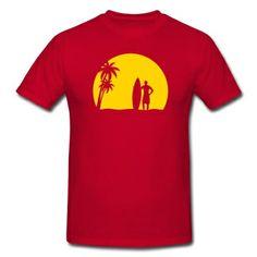 bb17fe27b surfer palms sun surfboard surfing sundown sunset swim beach T-Shirt    Spreadshirt   ID