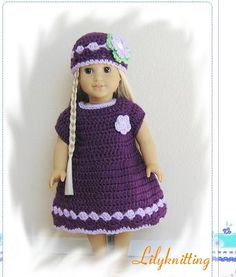 Pattern crocheted doll clothes dress for American by LilyKnitting, $7.99