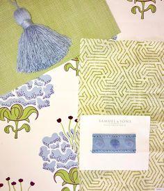 g r e e n + b l u e just for y o u ! 💙💚#scheming #fabricfun #tgif #fridayfabrics #wallpaper #tassels #pompom #trim #designshopplay…