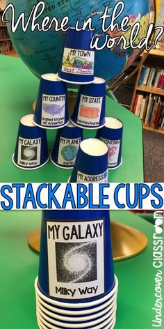 This blog post has some FREE editable cup labels for teaching about geography. Students unstack the cups to reveal their planet, continent, country, state, town, and address. Just edit to suit your needs. Then print, cut, and paste to some cups.
