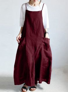 Japanese Solid Back Cross Cotton Vintage Apron Dress - Banggood Mobile