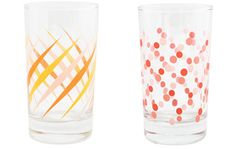 Pink Polka Dot and Orange Diamond Party Glasses on the @Amy Atlas blog!