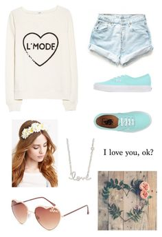 """""""L"""" by socialcasualtyk ❤ liked on Polyvore featuring MANGO, Levi's, Vans, Sydney Evan, Forever 21 and Full Tilt"""