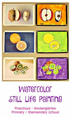 Watercolor Still Life Painting - here is a simple process to paint beautiful still life fruit with younger children - unaided! They can do this themselves!