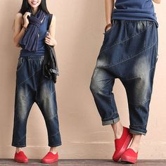 Casual Loose Fitting Comfortable and casual harem pants,jeans women,- Women Clothing